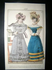 Townsend's Quarterly 1827 Hand Col Regency Fashion Print 136